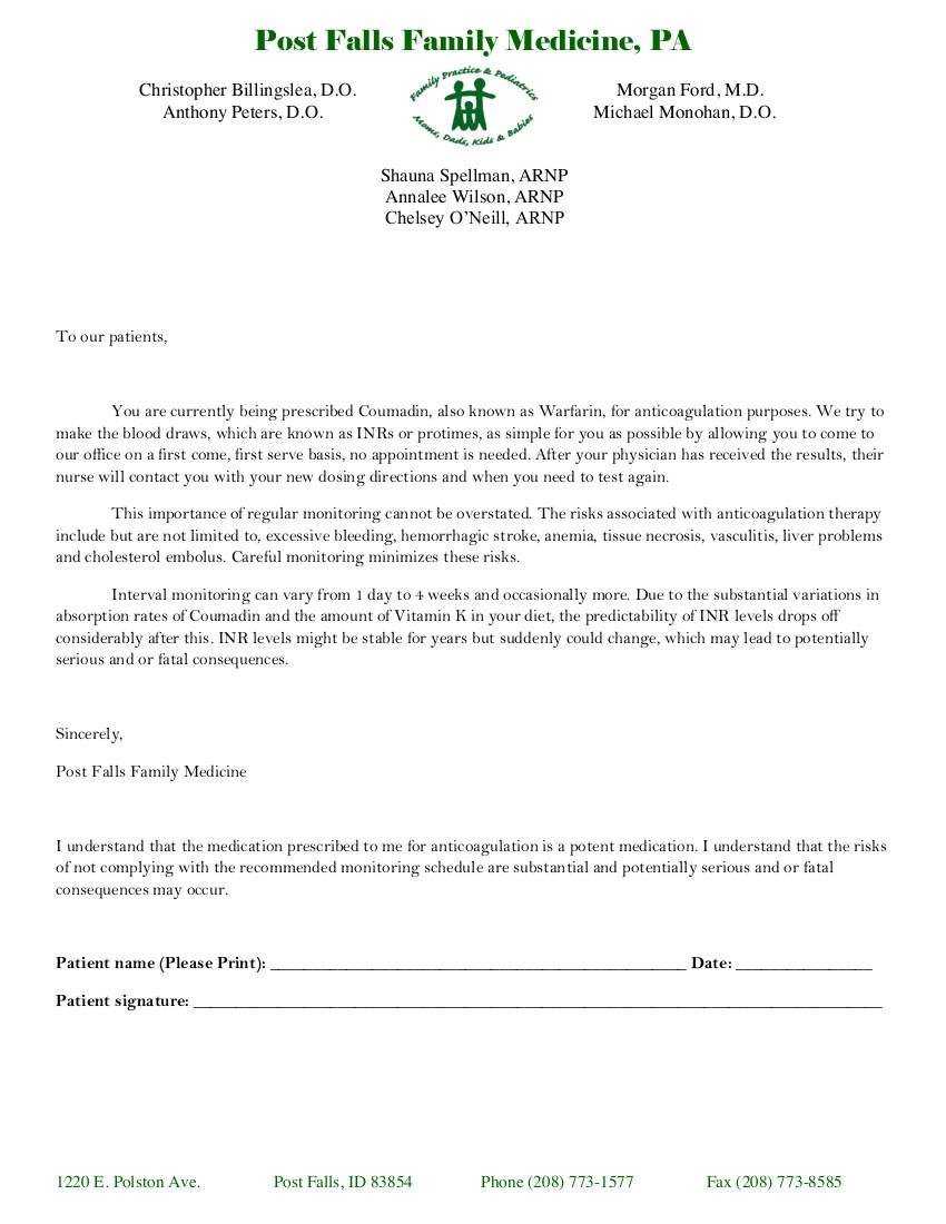 Coumadin Agreement Medicine Post Falls